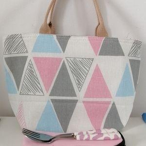 Brand new linen cotton lunch bag cooler bag